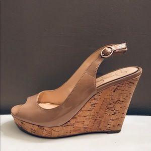 Jessica Simpons beige wedge heels
